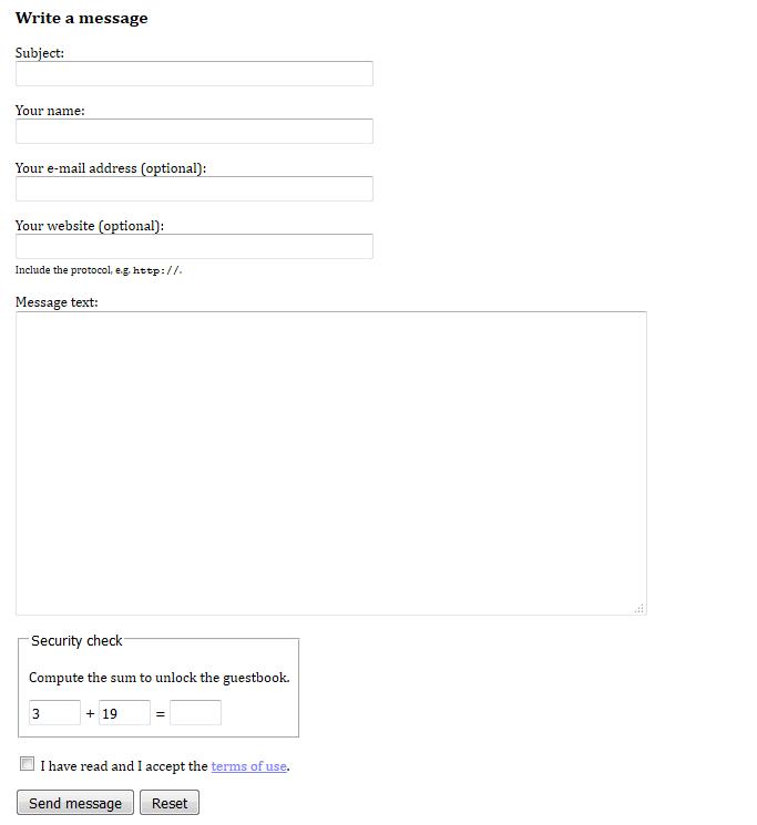 Skärmdump från gästbokens formulär med en enkel säkerhetskontroll som begär att användaren beräknar summan av två icke-negativa heltal av måttlig storlek.