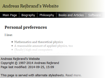Screenshot of a typical web page with header, navigational links, main body, and footer