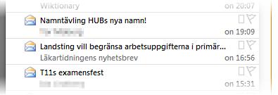 """Skärmdump från en e-postinkorg där kolonet i """"HUB:s"""" och """"T11:s"""" saknas."""