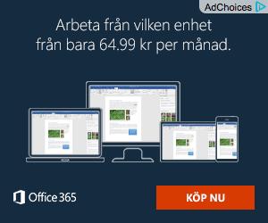 """Reklamannons från Microsoft med texten """"Arbeta från vilken enhet från bara 64.99 kr per månad""""."""