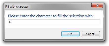 Screenshot of the dialog in character input mode.