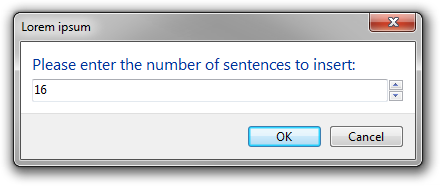 Screenshot of the dialog in integer input mode.