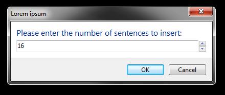 Screenshot of the dialog in integer input mode.