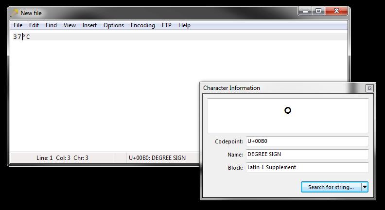 Rejbrand Text Editor. Gradtecknet är infogat och dess kodpunkt och beskrivning syns i statusfältet. Fönstret Teckeninformation är öppet och visar samma information (samt tecknets block).