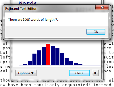 A screenshot of the Statistics dialog box in Rejbrand Text Editor 3.1.3. Statistics for a large text file is displayed. One of the bars has been clicked. It is highlighted in red, and a dialog box contains the word length and frequency of the clicked bar: 'There are 1063 words of length 7.'