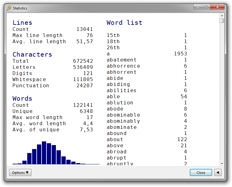 A screenshot of the Statistics dialog box in Rejbrand Text Editor 3.1.3. Statistics for a large text file is displayed. The word list is sorted alphabetically.