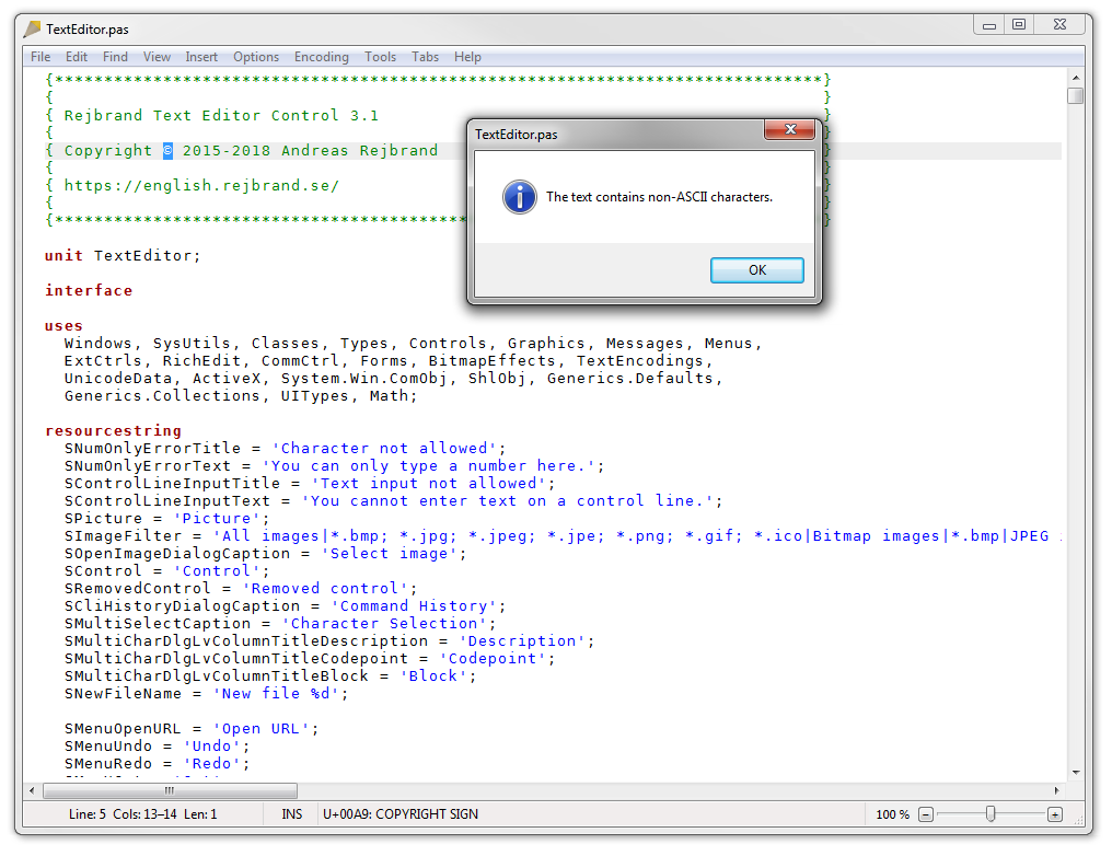 Screenshot of Rejbrand Text Editor displaying the ASCII check message box.