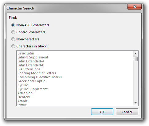 Screenshot of Rejbrand Text Editor displaying the Character Search dialog box.