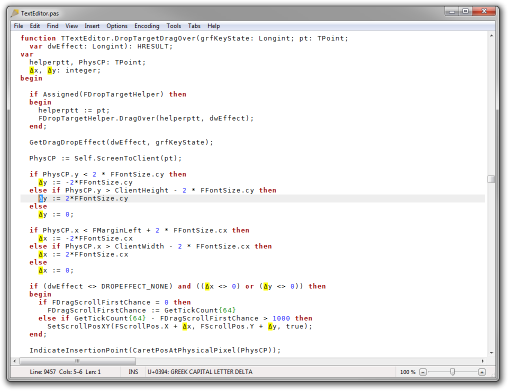 Screenshot of Rejbrand Text Editor highlighting matching Unicode characters.