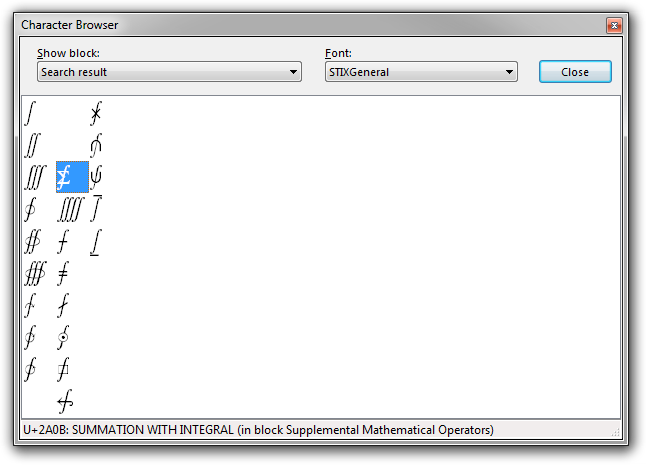 Screenshot of Rejbrand Text Editor displaying the Character Browser dialog box with the search results for string 'integral'.