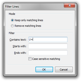 A screenshot of the Filter Lines dialog box in Rejbrand Text Editor.