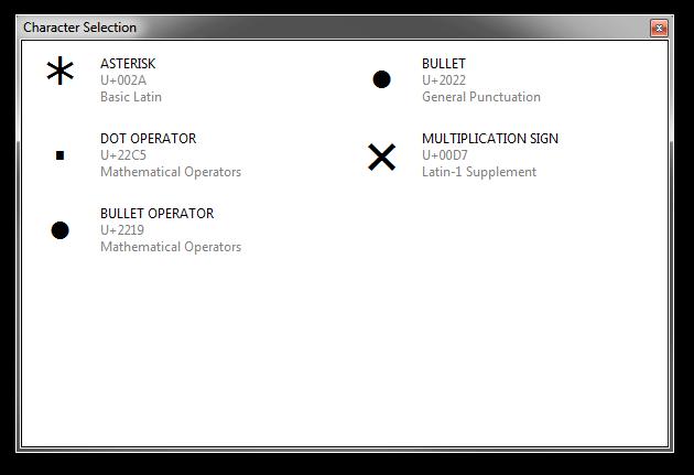 Screenshot of Rejbrand Text Editor displaying the asterisk/bullet/multiplication sign MultiInput dialog.