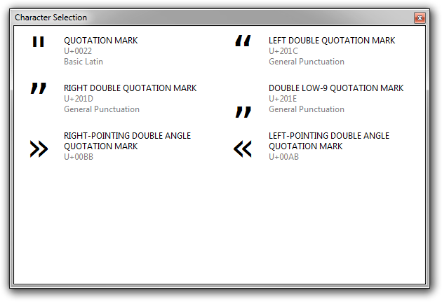 Screenshot of Rejbrand Text Editor displaying the double quotation mark MultiInput dialog.