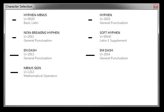 Screenshot of Rejbrand Text Editor displaying the hyphen/dash/minus sign MultiInput dialog.