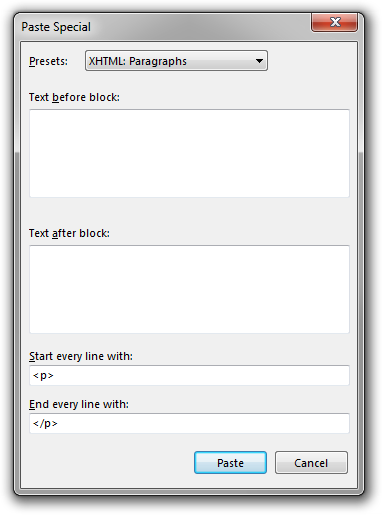 A screenshot of the Paste Special dialog box in Rejbrand Text Editor, about to paste a few paragraphs of text as HTML paragraphs.