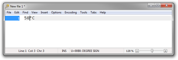 Screenshot of Rejbrand Text Editor displaying Unicode character information in the status bar.