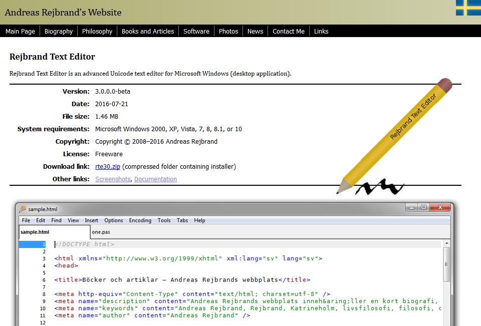 Skärmdump från huvudwebbsidan på texteditorns webbplatsdel.