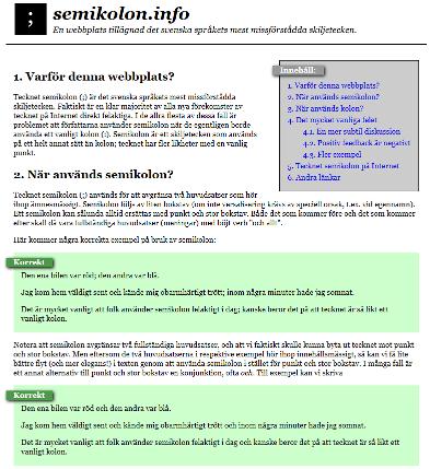 Webbplatsen semikolon.info
