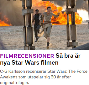 """Skärmdump från svt.se där ordet """"Star Wars-filmen"""" är särskrivet (d.v.s. bindestrecket saknas mellan """"Wars"""" och """"filmen"""")."""