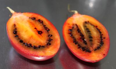 En öppnad tamarillo, delad på mitten