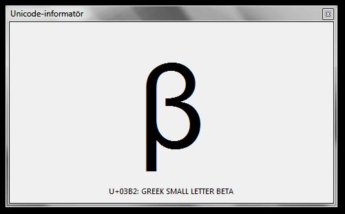 Verktyget Unicode-informatör visar kodpunkt och beskrivning för gemena grekiska bokstaven beta.
