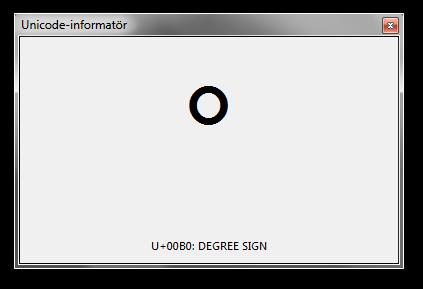 Verktyget Unicode-informatör. Urklipp innehåller gradtecknet och programfönstret visar därför tecknets kodpunkt och beskrivning.