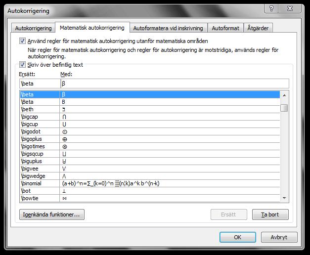 Dialogrutan Autokorrigering i Microsoft Word 2010