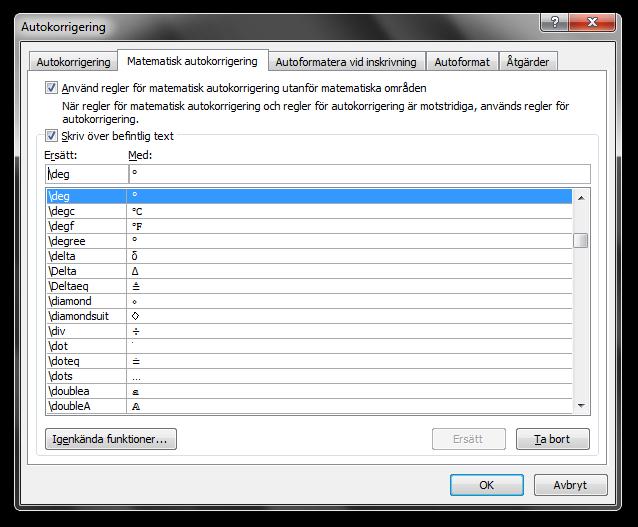 Dialogrutan Autokorrigering i Microsoft Word 2010, fliken Matematisk autokorrigering.