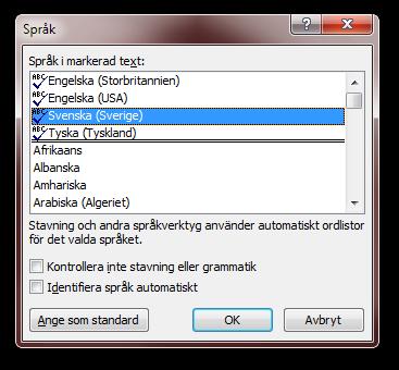 Dialogrutan Språk i Microsoft Word 2010