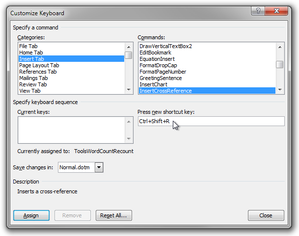 The Customize Keyboard dialog box in Microsoft Word 2010