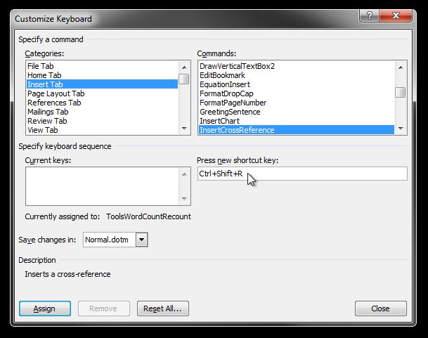 The Customize Keyboard dialog box in Microsoft Word 2010