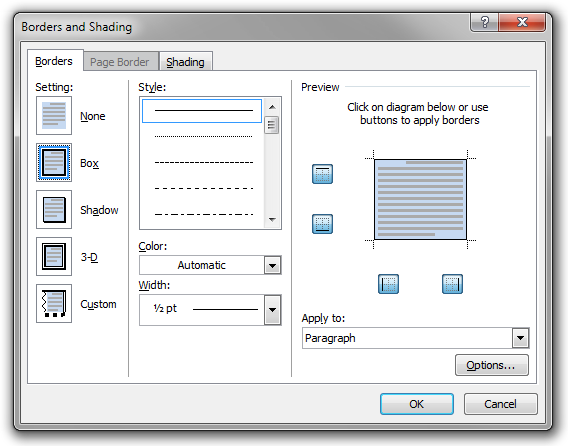The Borders and Shading dialog box used to edit the presentational attributes of the Example Box paragraph style.