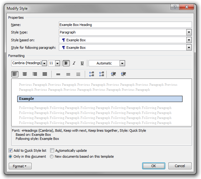 The Modify Style dialog box used to edit the Example Box Heading paragraph style.