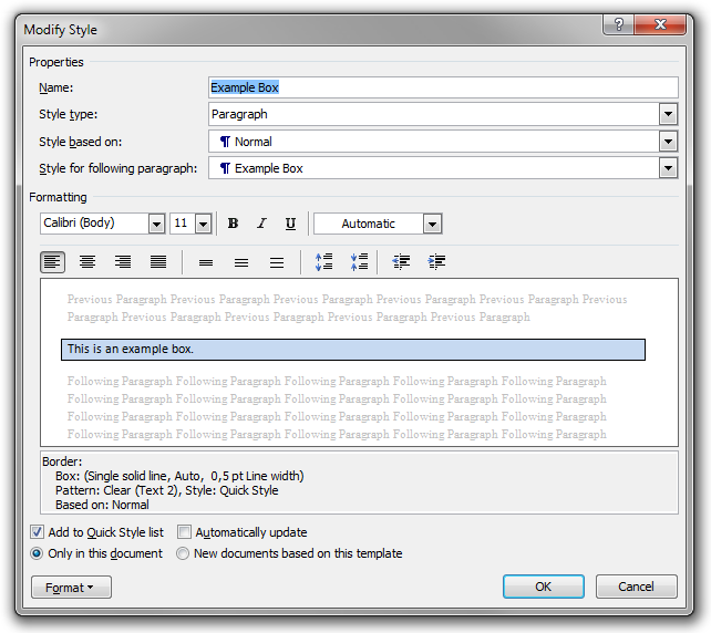 The Modify Style dialog box used to edit the Example Box paragraph style.