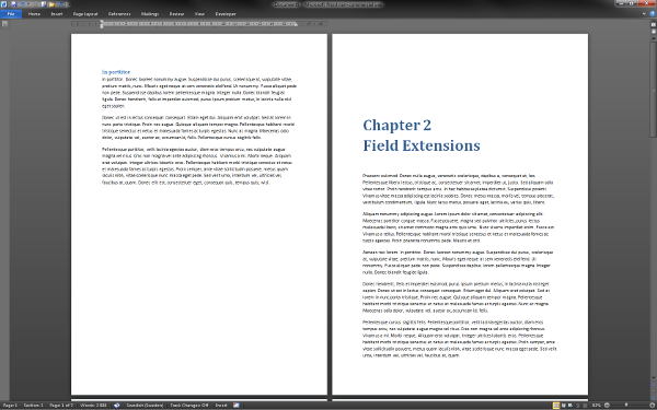 Screenshot of a Microsoft Word document containing what appears to be a heading divided into two lines: 'Chapter 2' and 'Field Extensions'