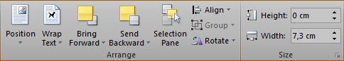 The Arrange and Size groups of the Format Drawing Tools contextual tab in the ribbon in Microsoft Word 2010.