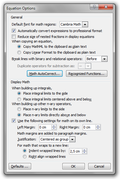 The Equation Options dialog box in Microsoft Word 2010