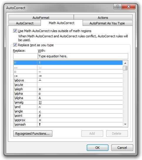 The Math AutoCorrect tab in the AutoCorrect dialog box in Microsoft Word 2010