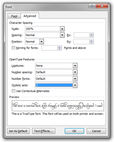 The Font dialog box in Microsoft Word 2010 on the Advanced tab, where you find the OpenType features.