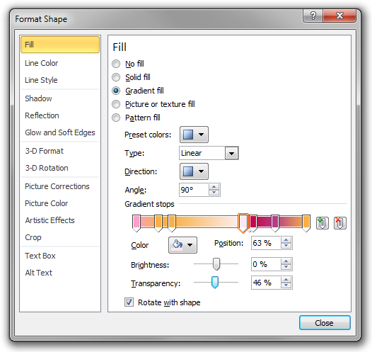 The Format Shape dialog box in Microsoft Word 2010.