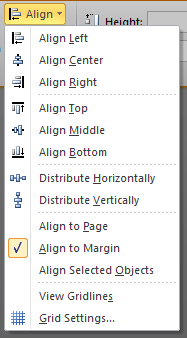 The drop down menu of the Align button in the Arrange group of the Format Drawing Tools contextual ribbon in Microsoft Word 2010. The items are 'Align Left', 'Align Center', 'Align Right', (separator), 'Align Top', 'Align Middle', 'Align Bottom', (separator), 'Distribute Horizontally', 'Distribute Vertically', (separator), 'Align to Page', 'Align to Margin', 'Align Selected Objects', (separator), 'View Gridlines', and 'Grid Settings...'.