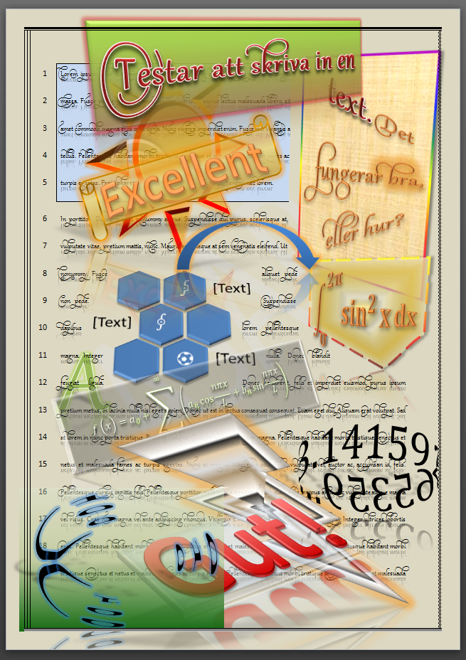 A page in a Microsoft Word document, full of graphics and visual effects.