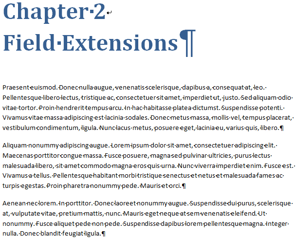 Screenshot from Microsoft Word in which hidden characters (formatting symbols) are shown.