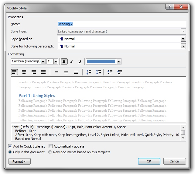The Modify Style dialog box in Microsoft Word 2010 ribbon
