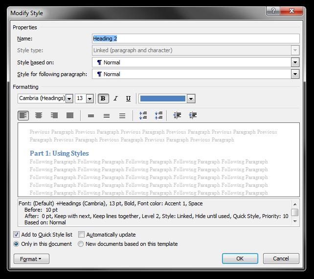 The Modify Style dialog box in Microsoft Word 2010 ribbon