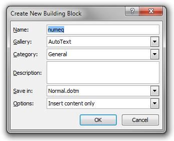 The 'Create New Building Block' dialog in Word 2010.