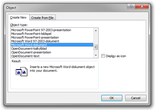 The Object dialog box in Microsoft Word 2010.