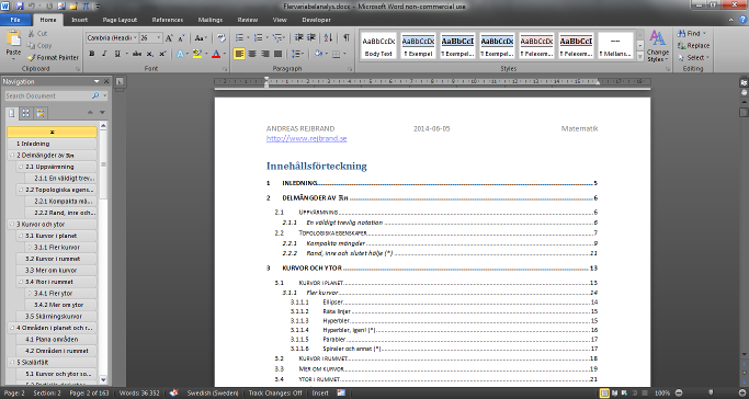 Screenshot of TOCs in Microsoft Word 2010
