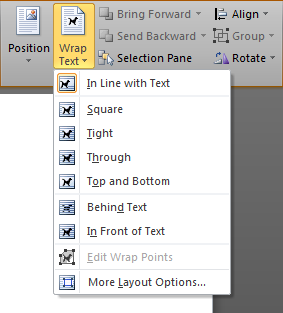 The Wrap Text commands in Microsoft Word 2010. The drop down menu associated with the 'Wrap Text' button in the Arrange group in the Format Drawing Tools contextual tab in the ribbon in Microsoft Word 2010 is shown. The options are: In Line with Text, Square, Tight, Through, Top and Bottom, Behind Text, and In Front of Text. The menu also contains two commands 'Edit Wrap Points' and 'More Layout Options...'.