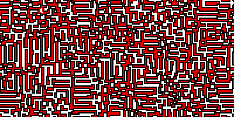 On a white background (that you don't see very much of), red regions with black borders are seen. These regions are mainly rectangular, or unions of rectangles.